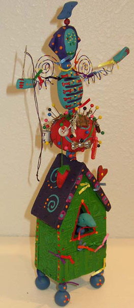 Pincushion House - Johanna Hansen :  mixed media artist pincushion design